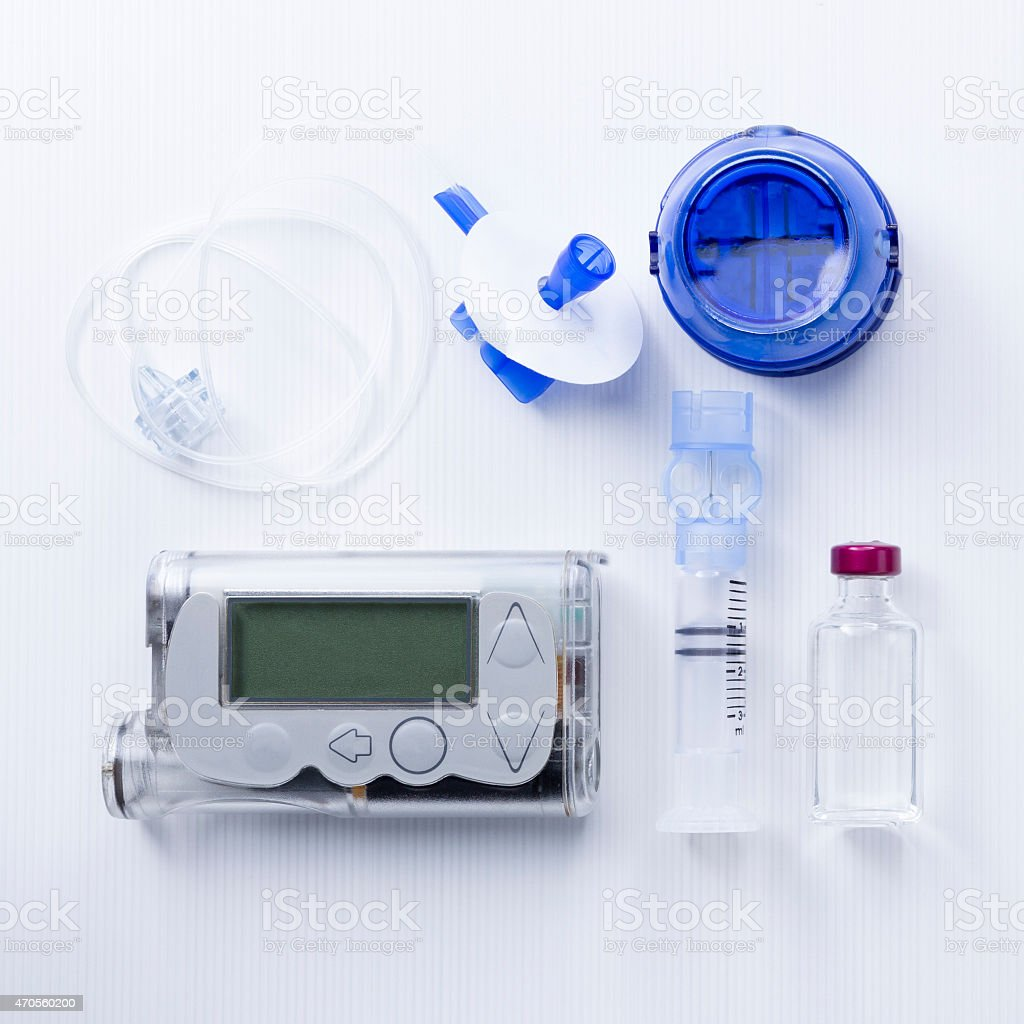 insulin pump set background stock photo