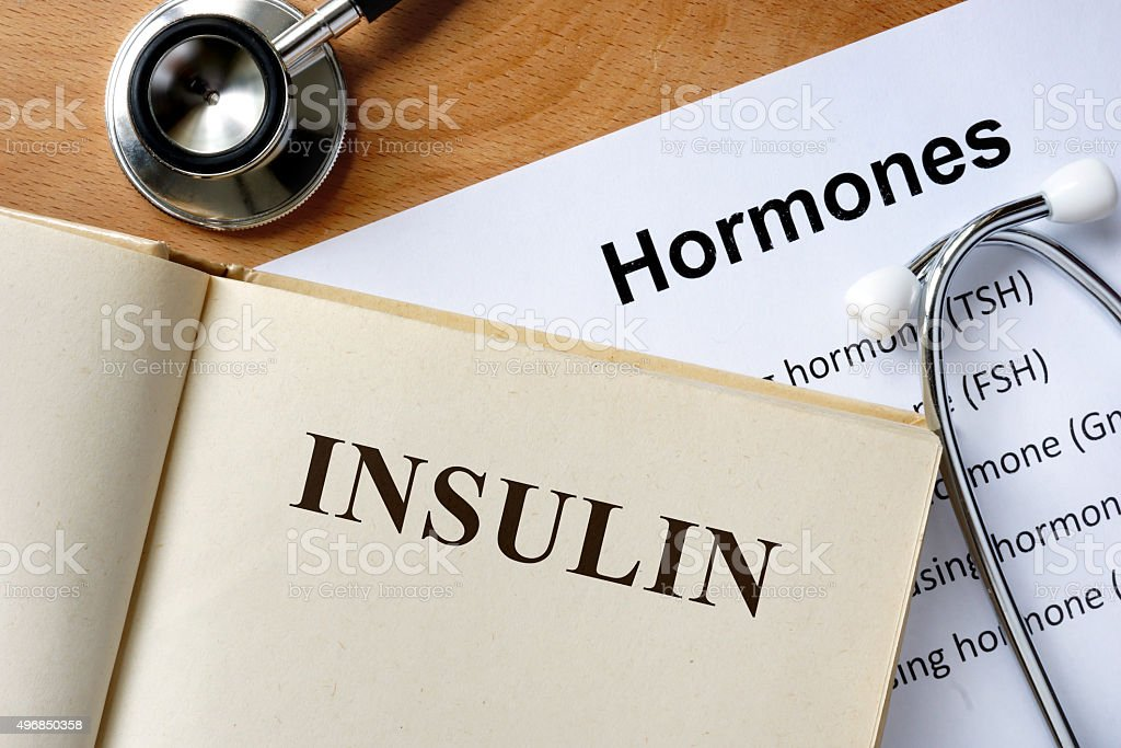 Insulin  word written on the book and hormones list. stock photo