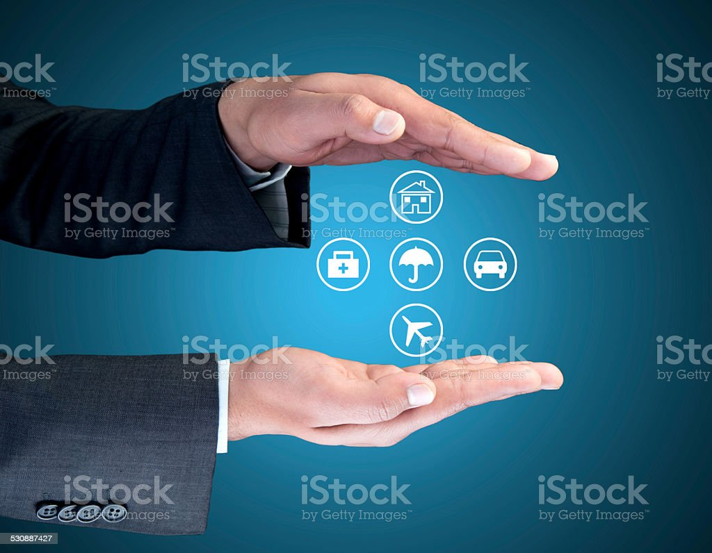 Insurance agent showing interface icons stock photo