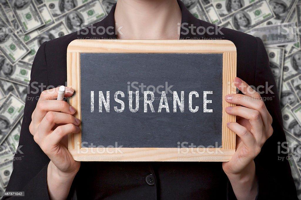 Insurance black board stock photo