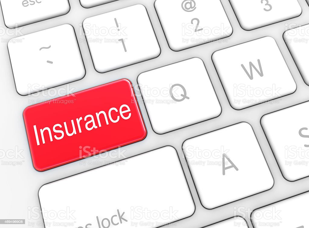 Insurance Button on Computer Keyboard stock photo