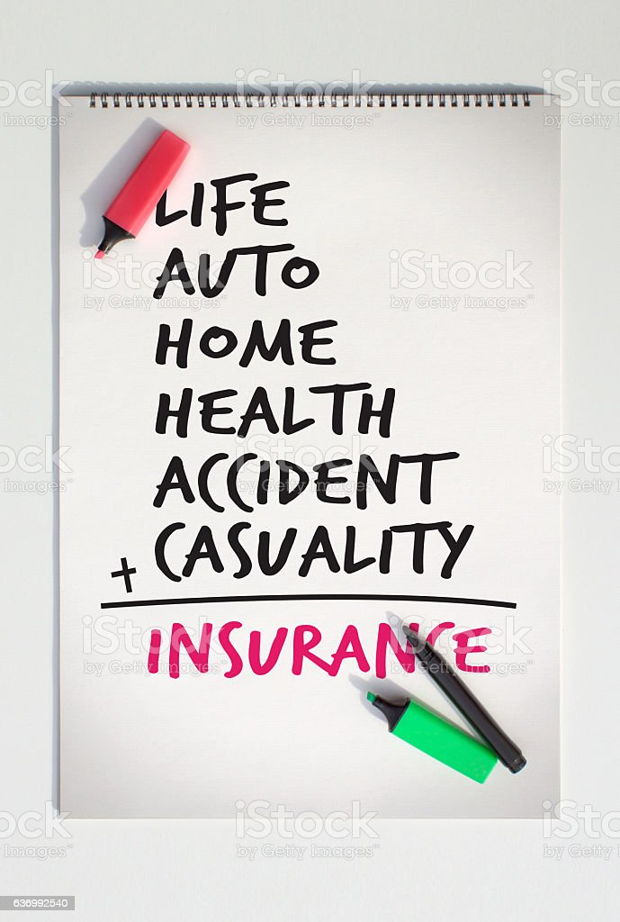 Insurance Calculation stock photo