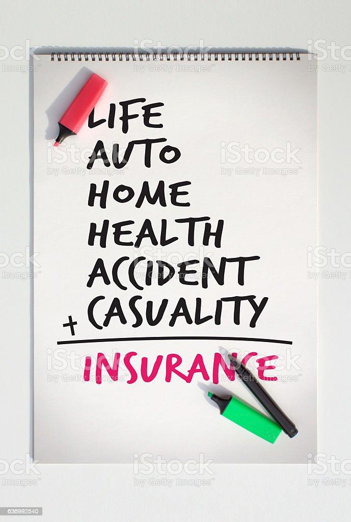 Insurance Calculation stock photo