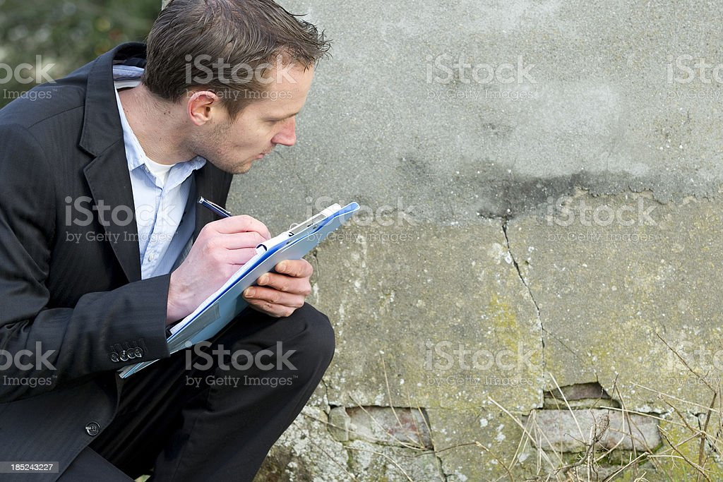 Insurance claim expert at work. stock photo