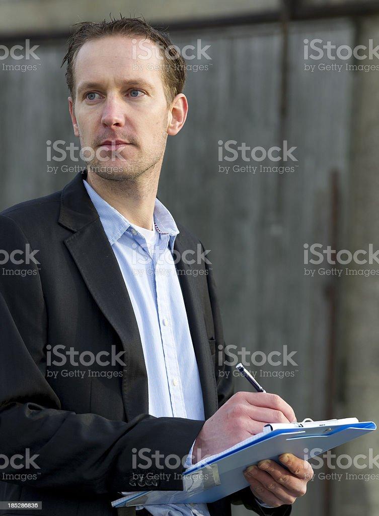 Insurance claim expert at work stock photo