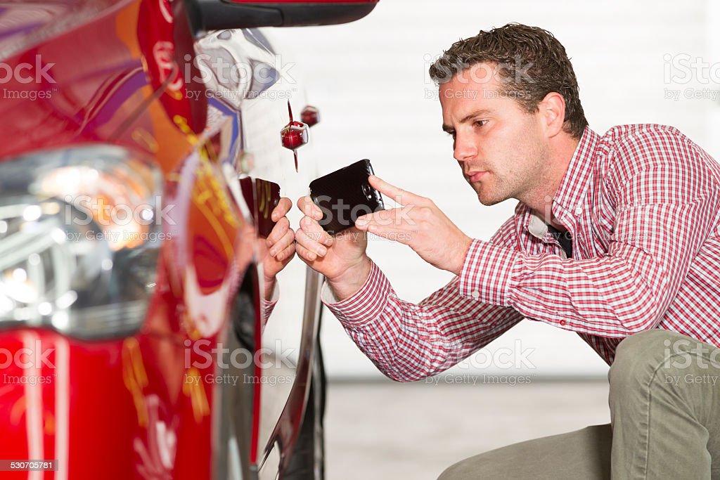 Insurance claim, expert at work stock photo