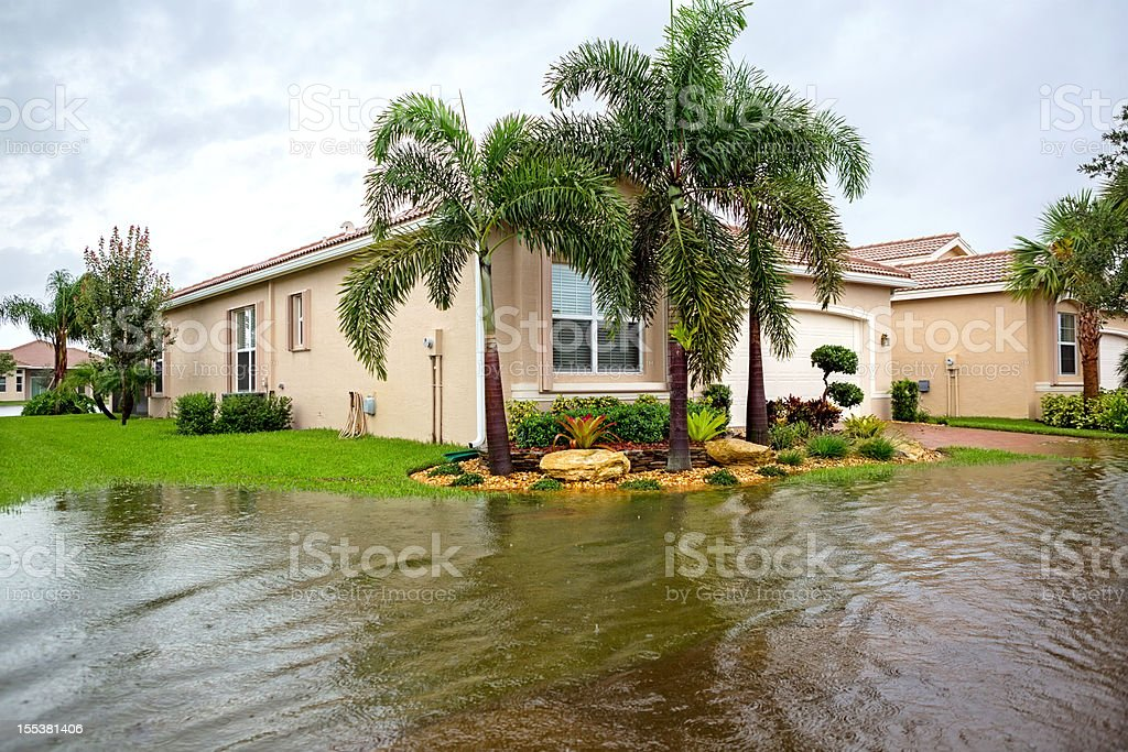 Insurance Claim: Flooding from a hurricane stock photo