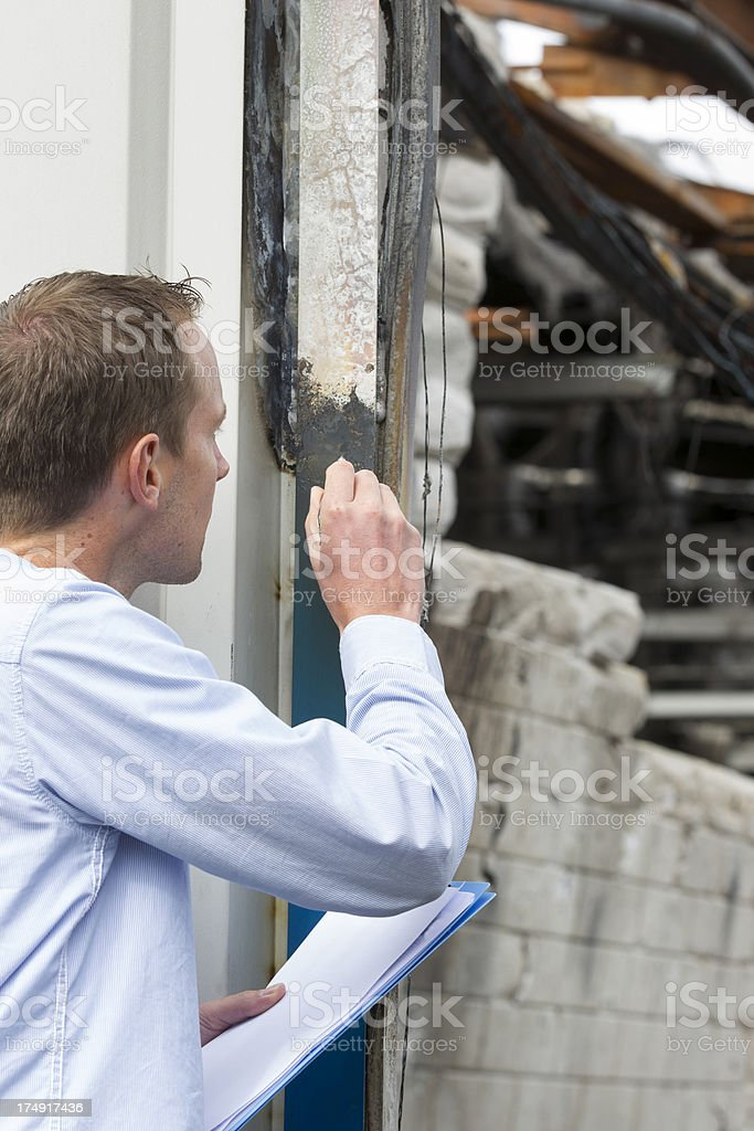Insurance claim form, expert at work stock photo