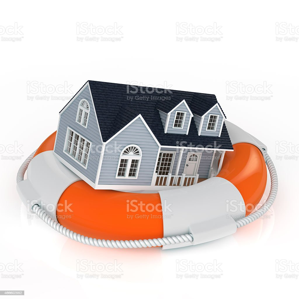 Insurance concept depicting a house floating on a lifesaver stock photo