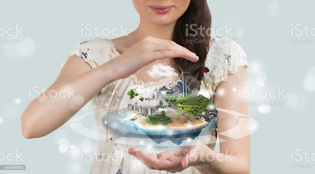 Insurance concept. Save your perfect world stock photo