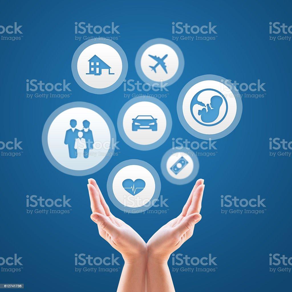 Insurance design over blue background stock photo