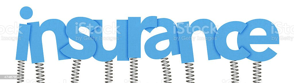 Insurance made from letters on springs stock photo
