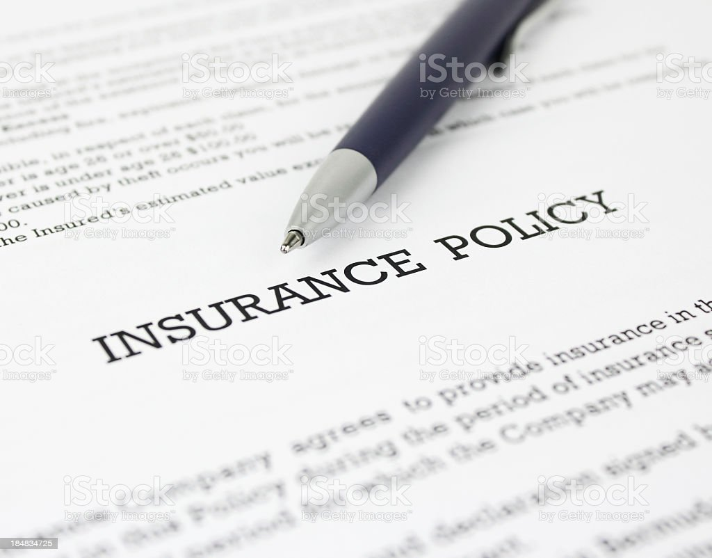 Insurance Policy with Pen stock photo