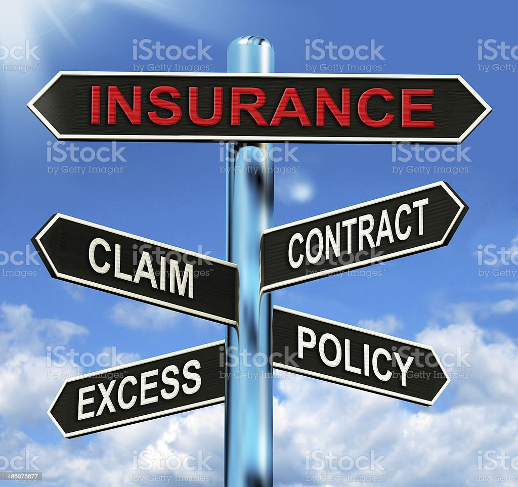 Insurance Signpost Mean Claim Excess Contract And Policy stock photo