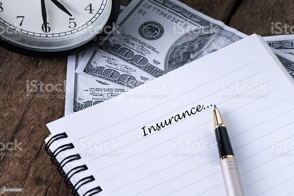 Insurance With Text Writing-Concept Photo. stock photo