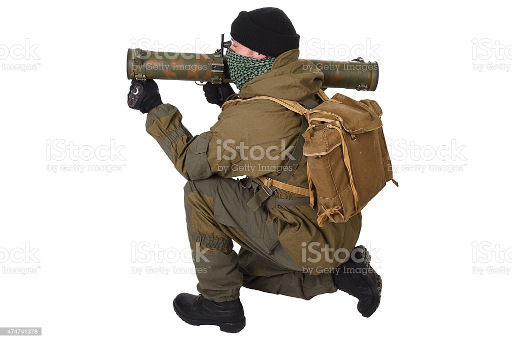 insurgent with RPG rocket launcher stock photo