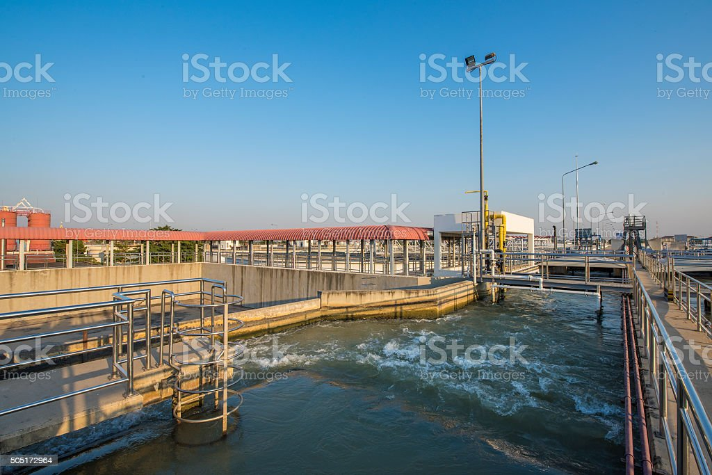 Intake Canal of Raw Water in Water Treatment Plant stock photo