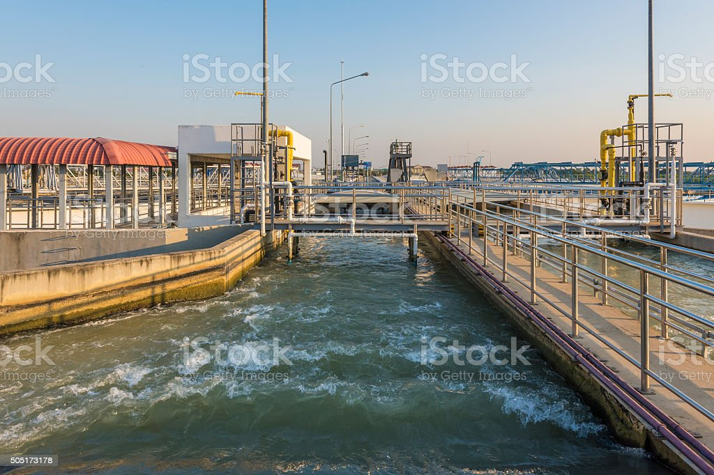 Intake of Raw Water in Water Treatment Plant stock photo