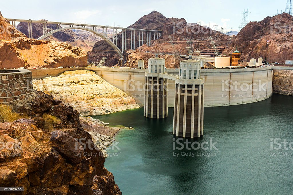 Intake towers at Hoover Dam stock photo