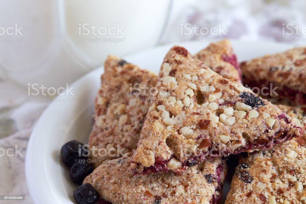 Integral cookies with aronia fruit stock photo
