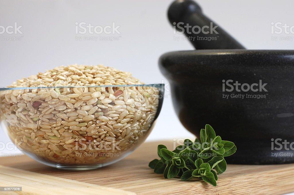 Integral Rice and Fresh Oregano royalty-free stock photo