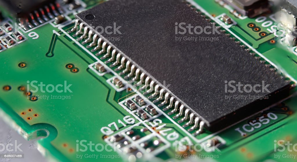 Integrated circuit in dual inline Package on circuit board stock photo
