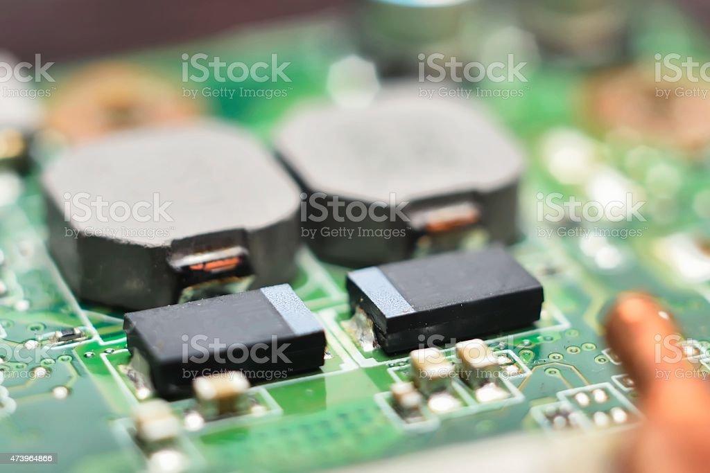 integrated circuits, diodes, transistors, vacuum tubes stock photo