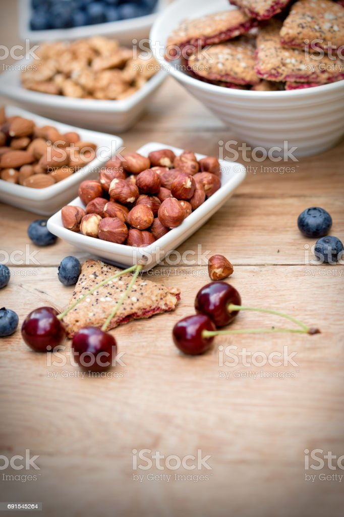 Integrated - integral fruit cookie, biscuit  and ingredients (homemade) stock photo