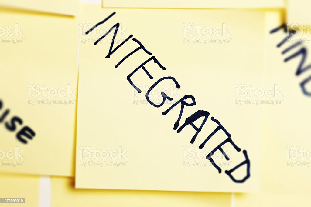 'Integrated' says hand-written business buzzword on yellow note stock photo