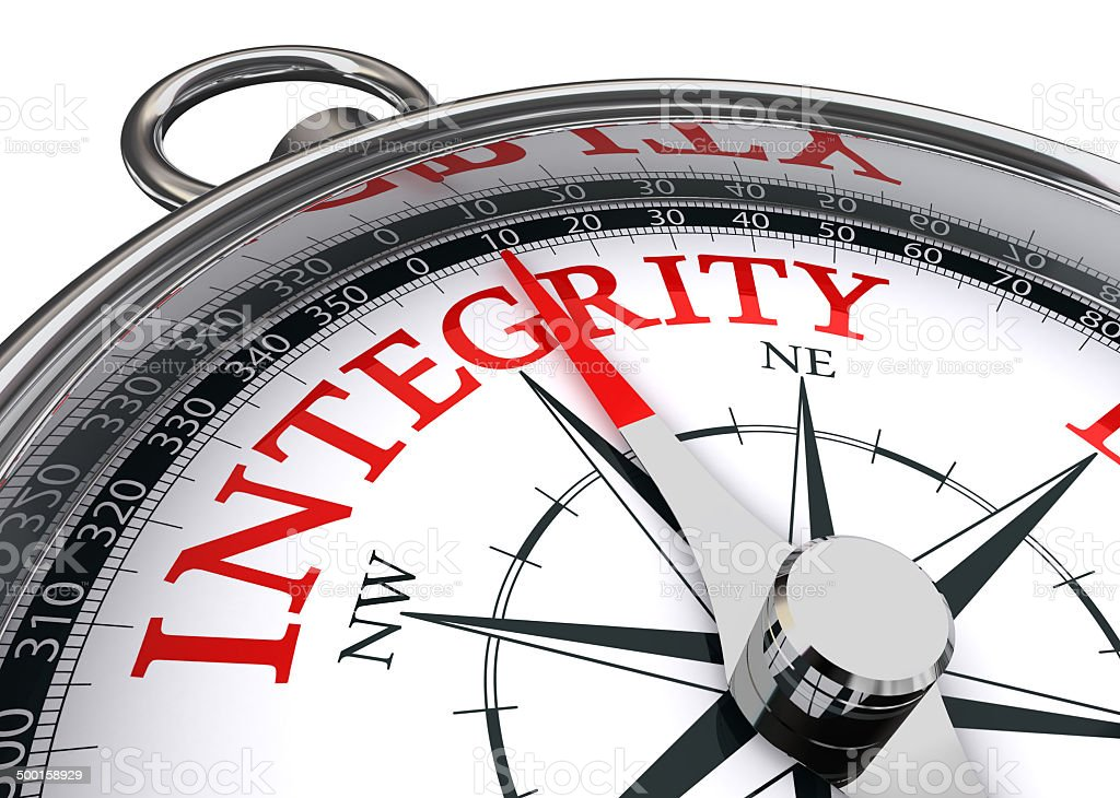integrity conceptual compass stock photo
