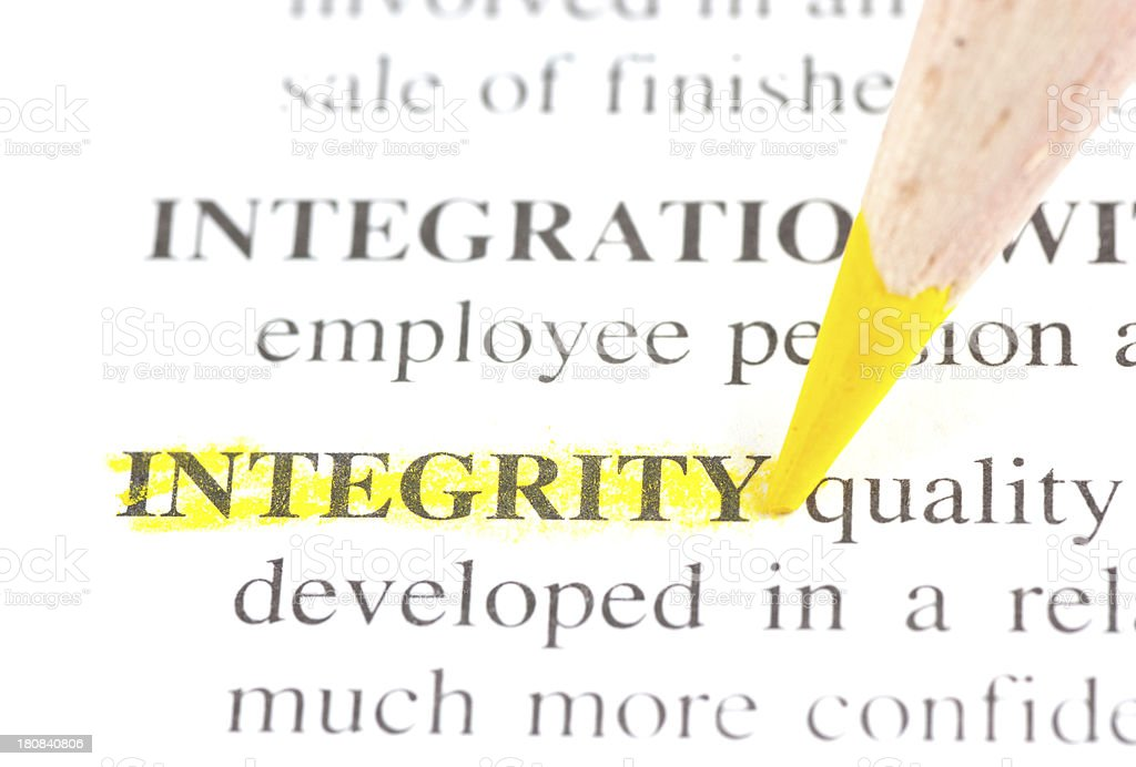 integrity defintion marked in dictionary royalty-free stock photo