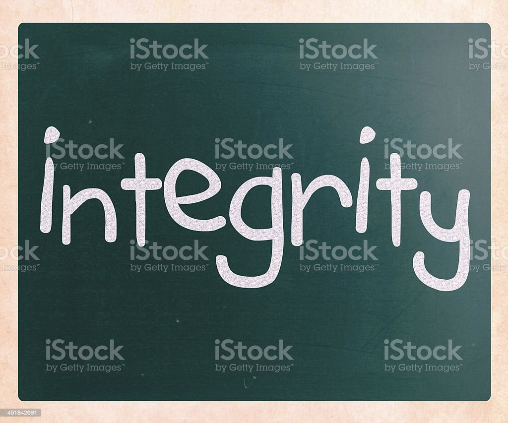'Integrity' handwritten with white chalk on a blackboard royalty-free stock photo