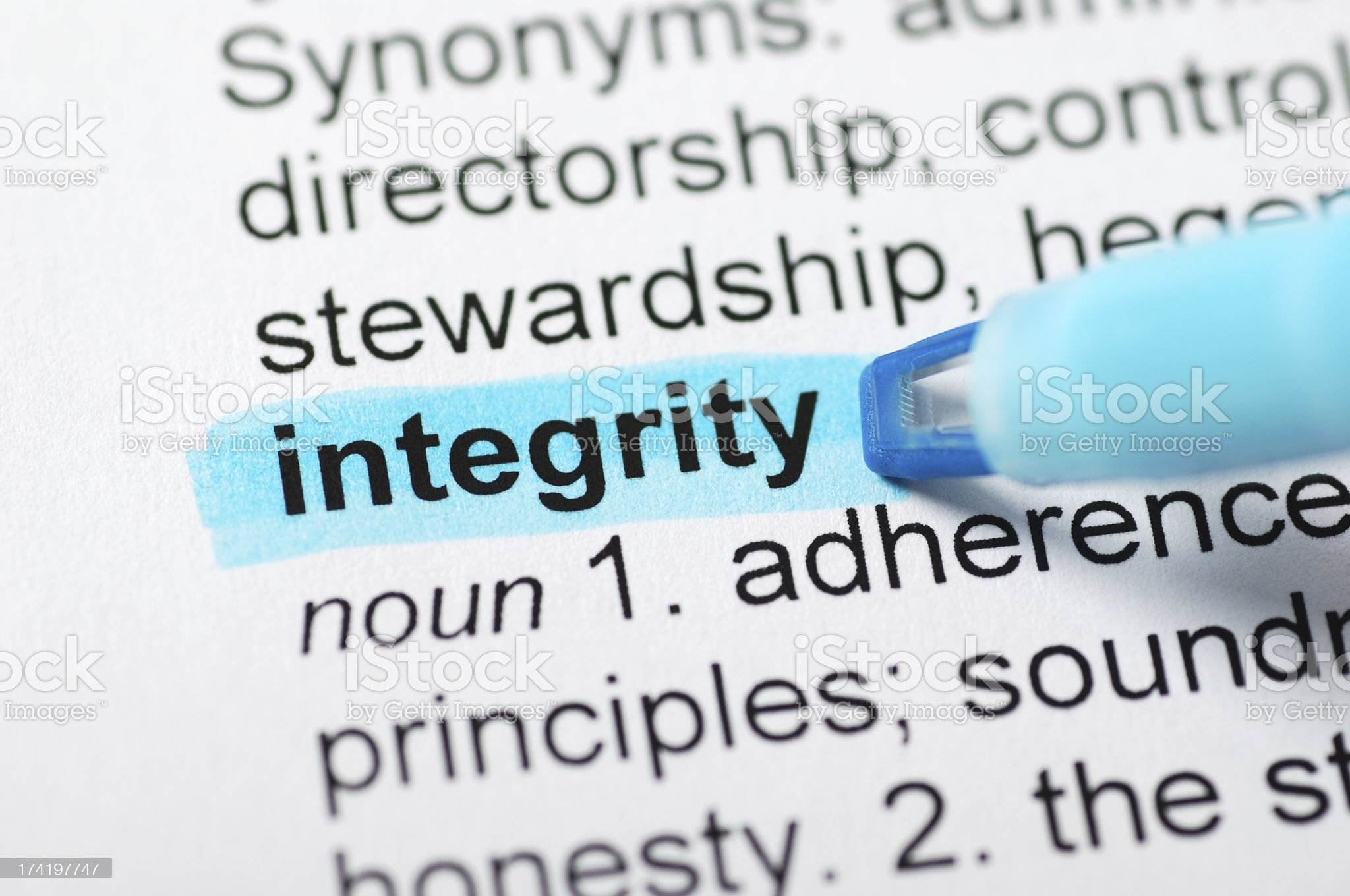 Integrity highlighted in dictionary royalty-free stock photo