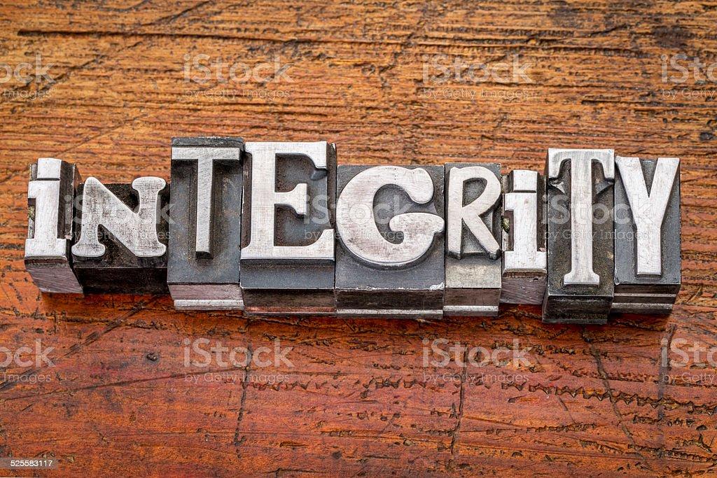 integrity word in metal type stock photo