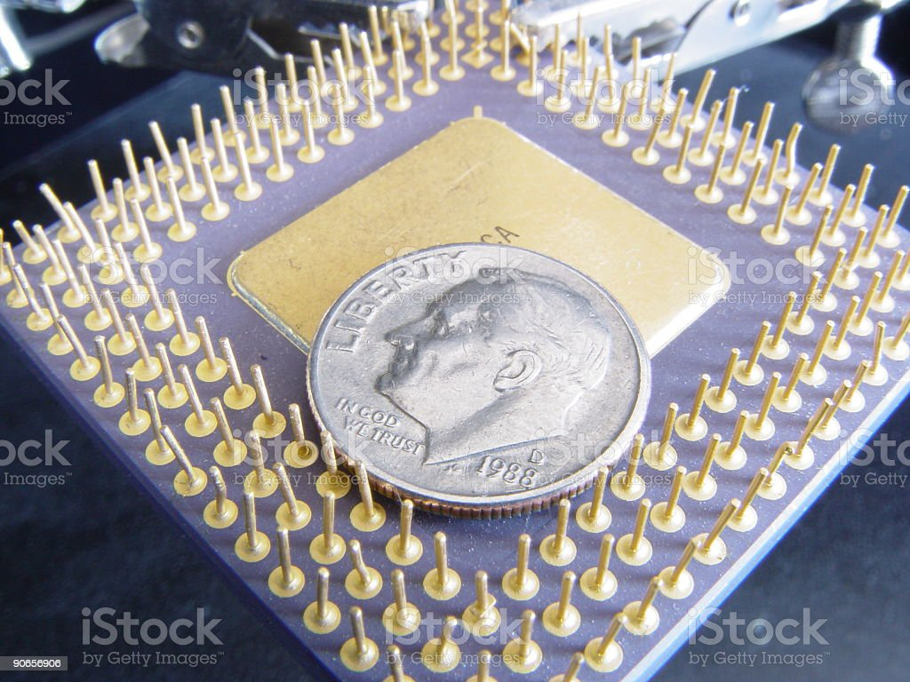 intel 486 processor and dime macro stock photo