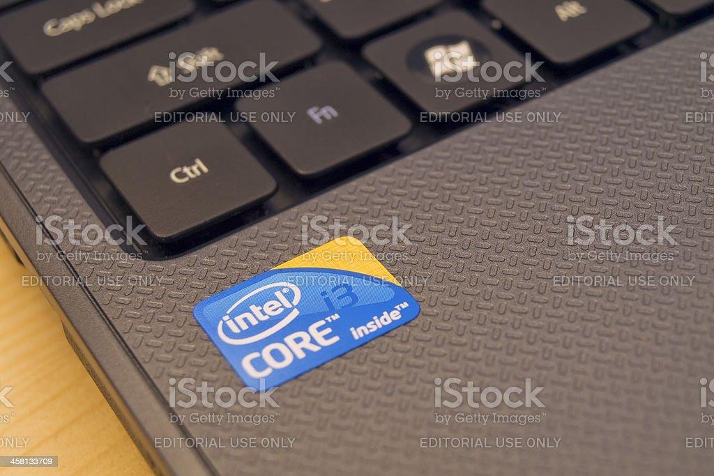 Intel advertising sticker on new laptop stock photo