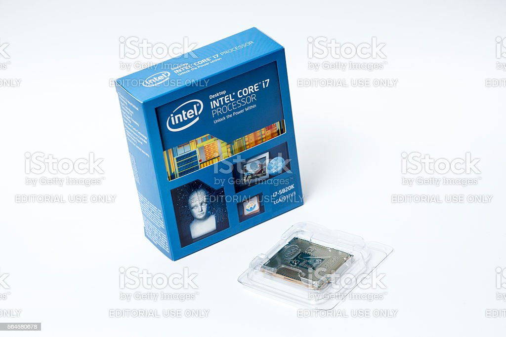 Intel Core i7 5820K Computer Processor Isolated on White stock photo