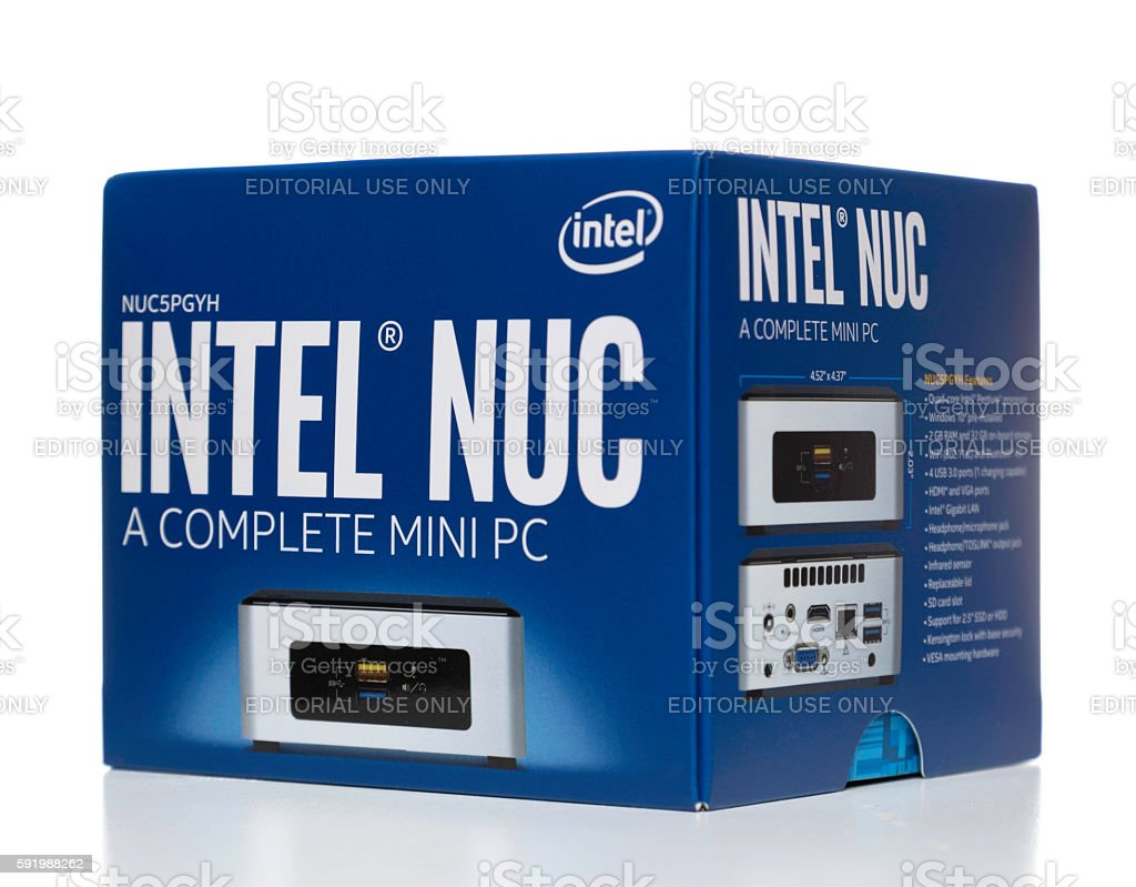 Intel Nuc mini PC box side stock photo
