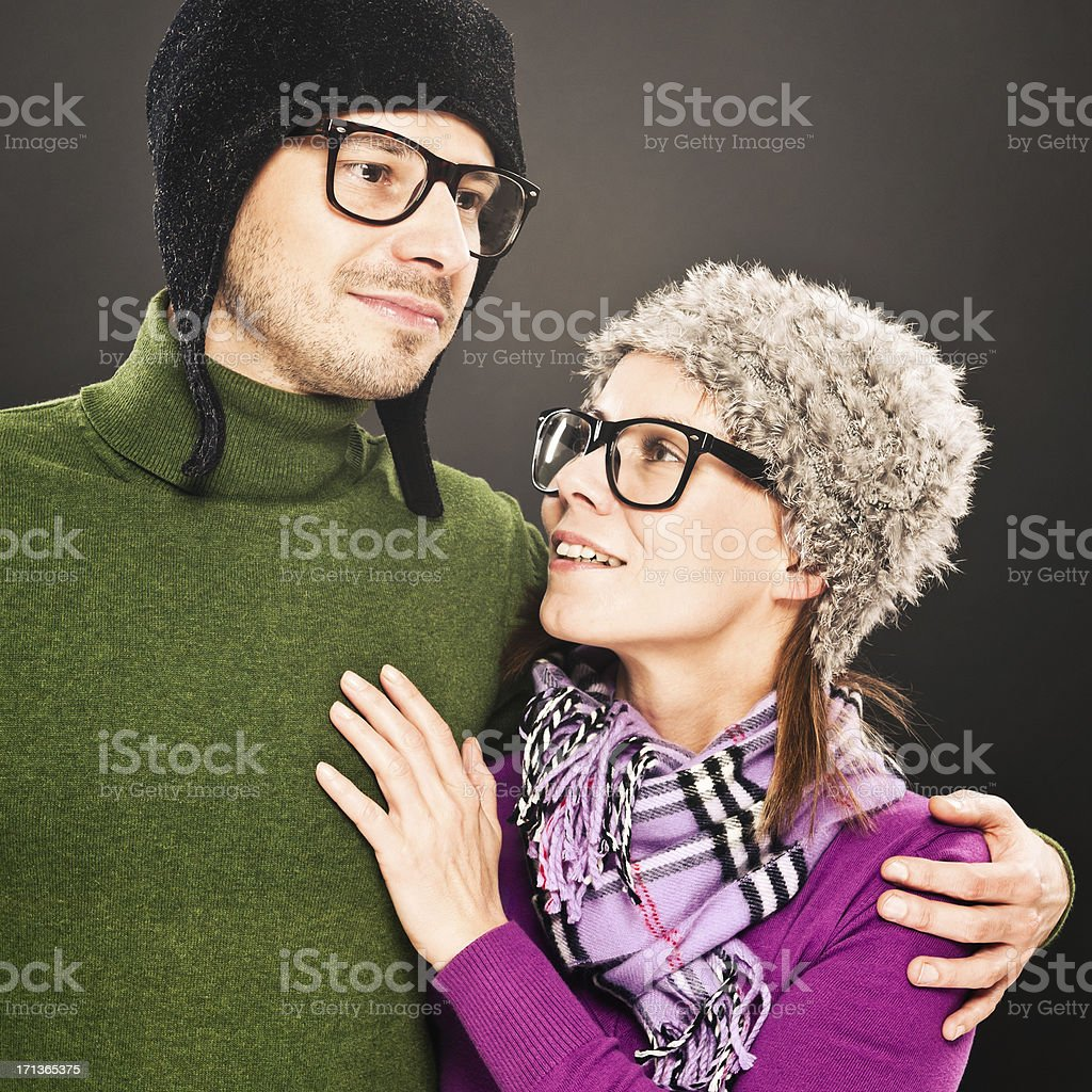 'Intellectual, 30 years old couple in autumn clothes' stock photo
