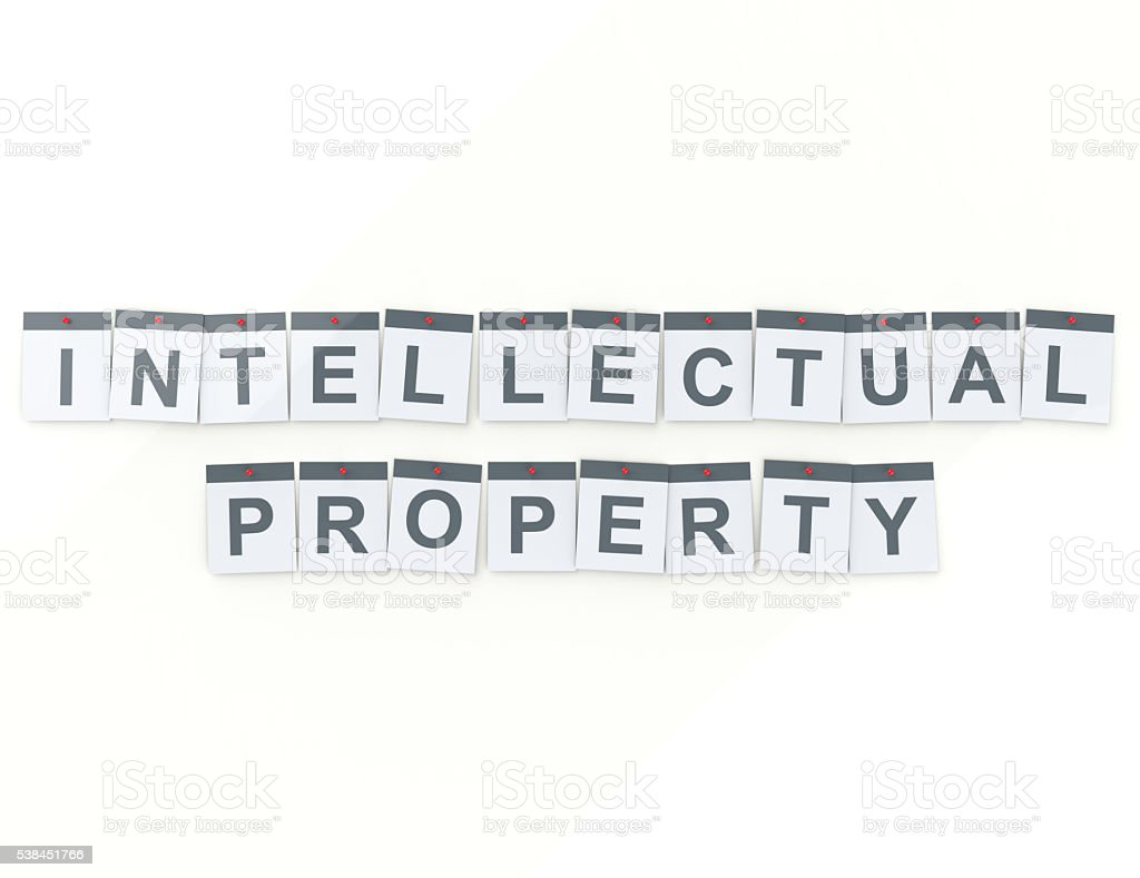intellectual property word on calendar pages concept stock photo