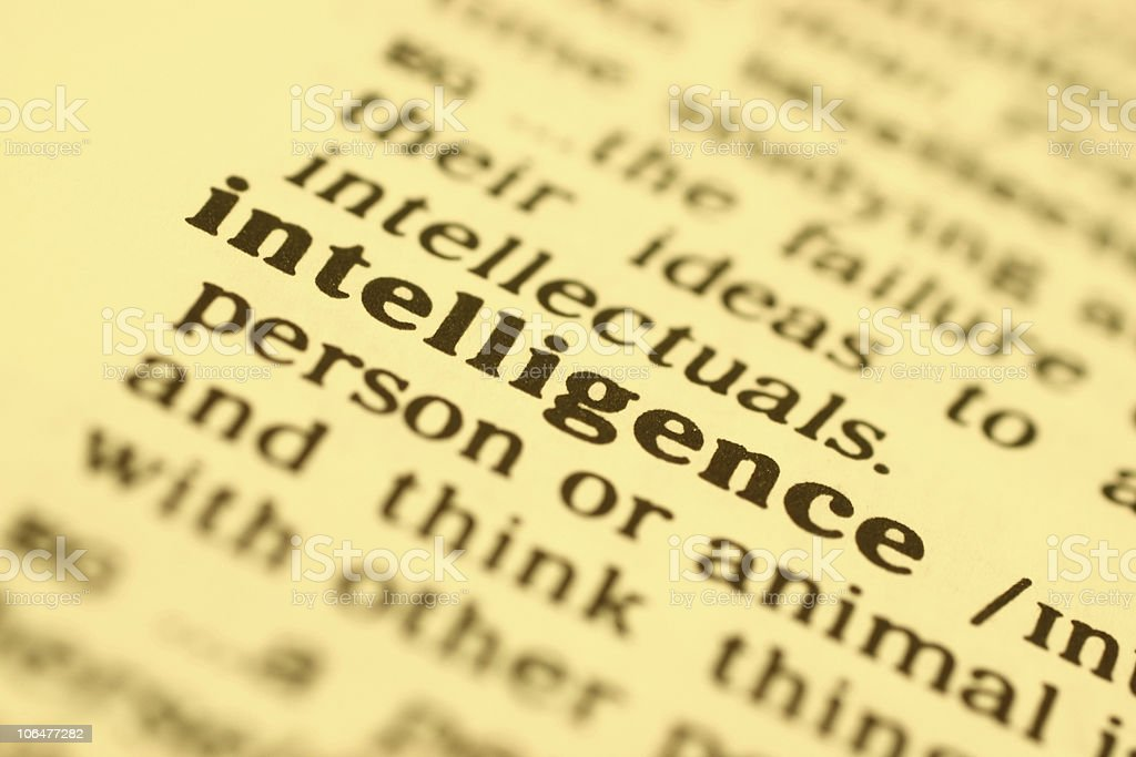 Intelligence word close up royalty-free stock photo