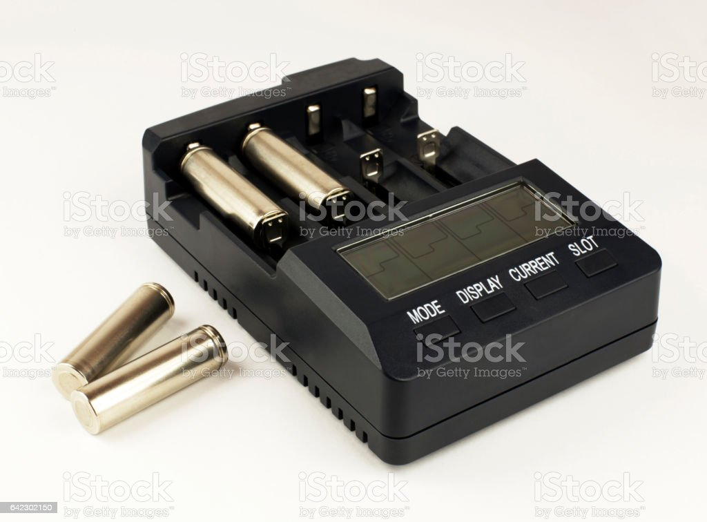 Intelligent accumulator battery charger stock photo