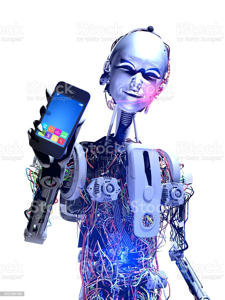 Intelligent Android shows Mobile Phone stock photo