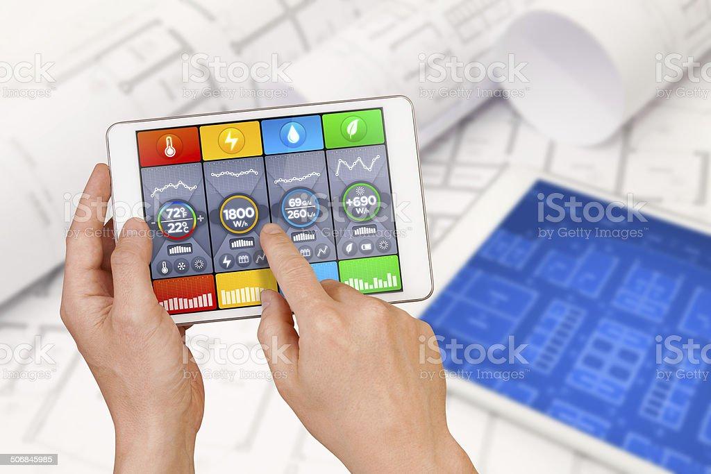 Intelligent building automation: designing, optimizing temperature, water, energy efficient stock photo