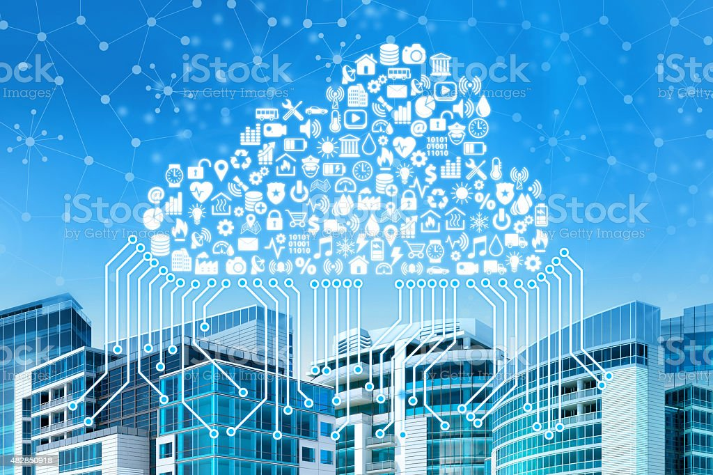 Intelligent city connected by cloud computing and Internet of Things stock photo