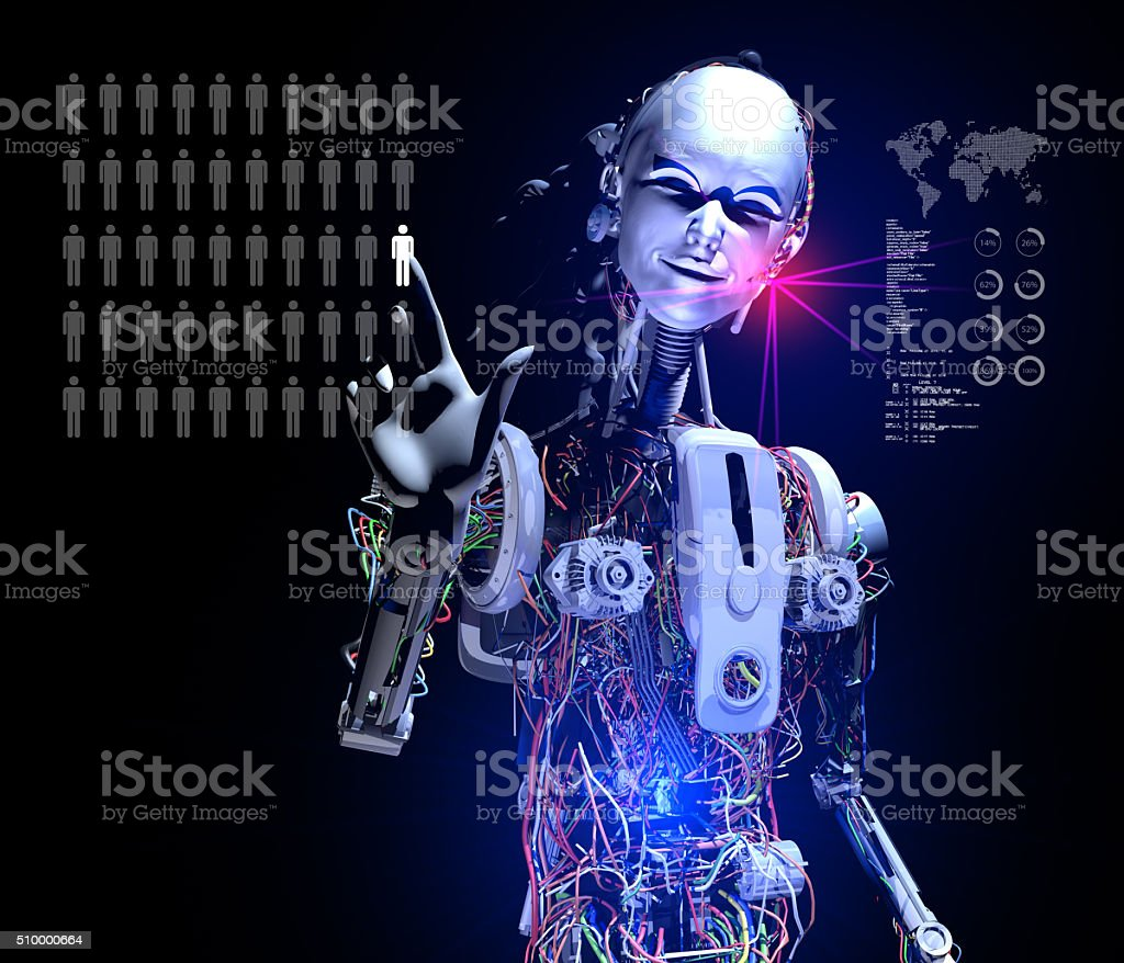 Intelligent Cyborg Selecting Best Worker stock photo
