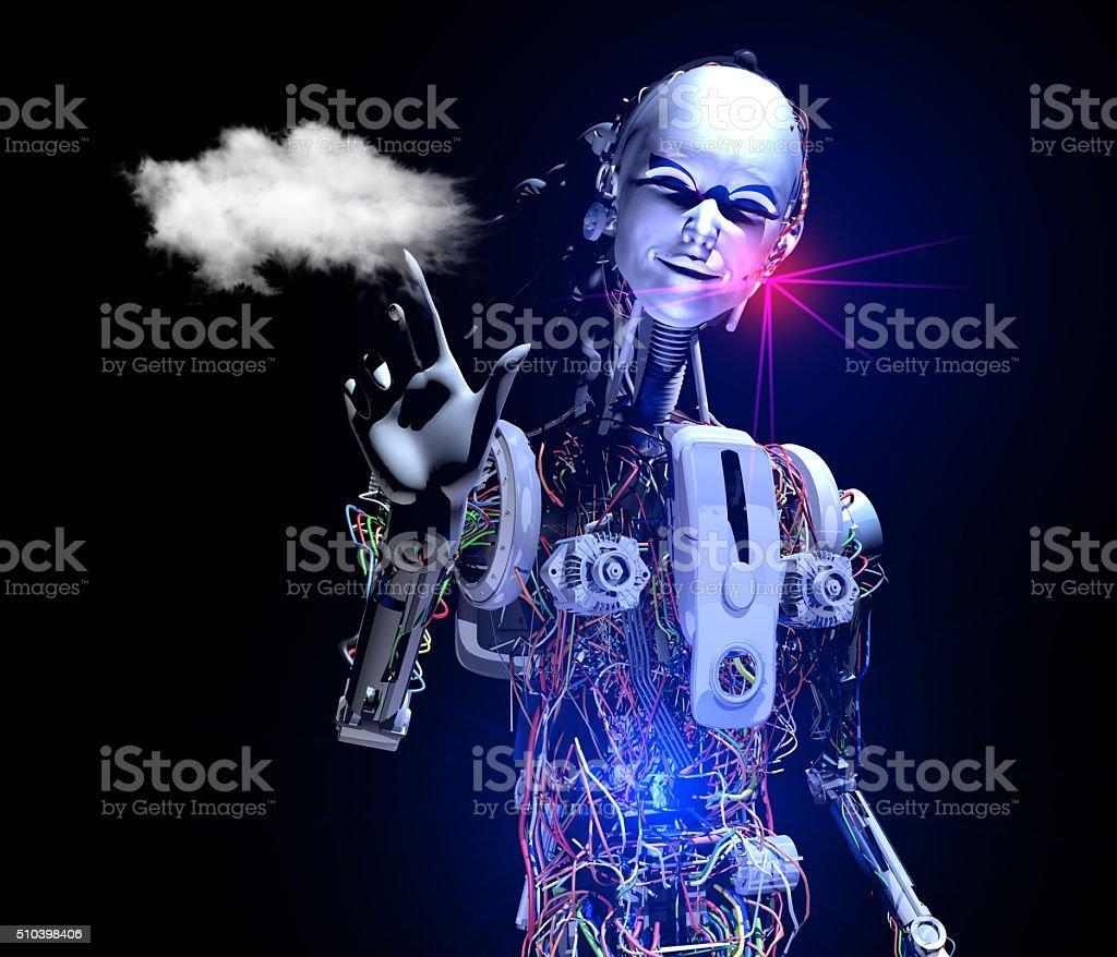 Intelligent Cyborg showing Cloudscape stock photo