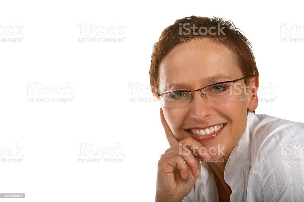 Intelligent looking female. royalty-free stock photo