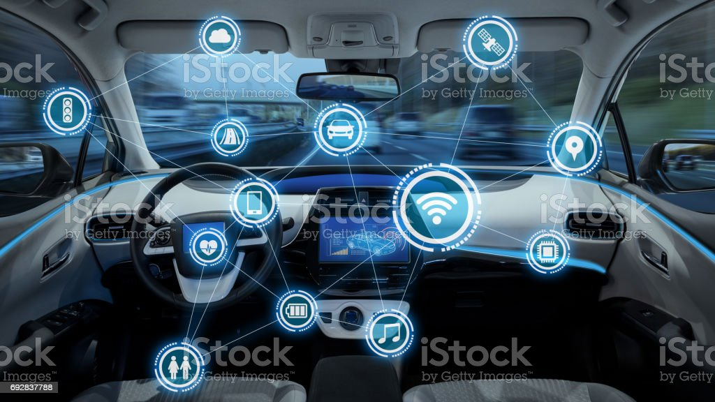 intelligent vehicle cockpit and wireless communication network concept stock photo