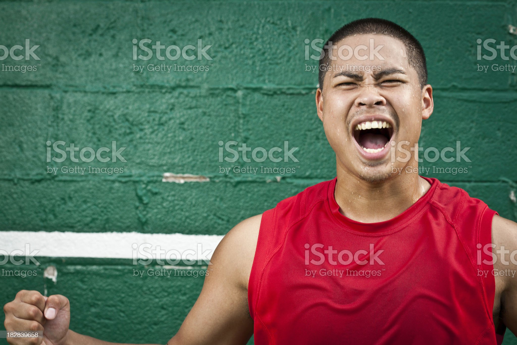 Intense Athlete Covered With Sweat royalty-free stock photo